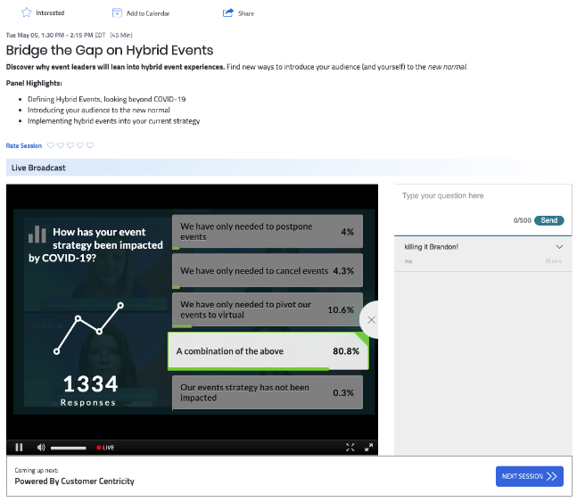 virtual event production glossary - Bizzabo Stream Polls