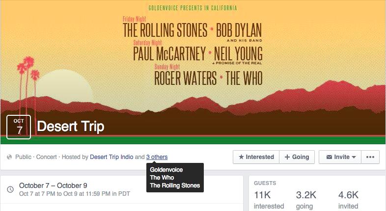 Desert Trip Facebook Event Promotion - Facebook Event Promotion