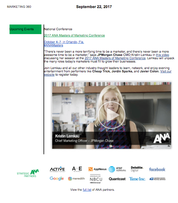 Event invitation email for ANA Conference