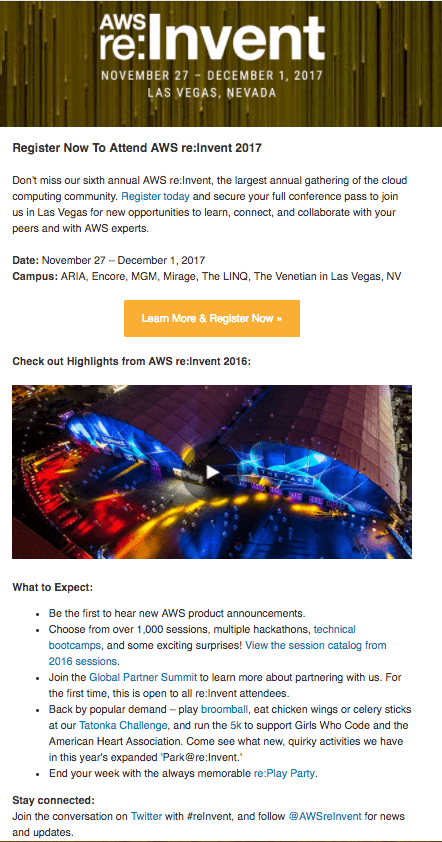 Event invitation email for AWS re:INVENT conference