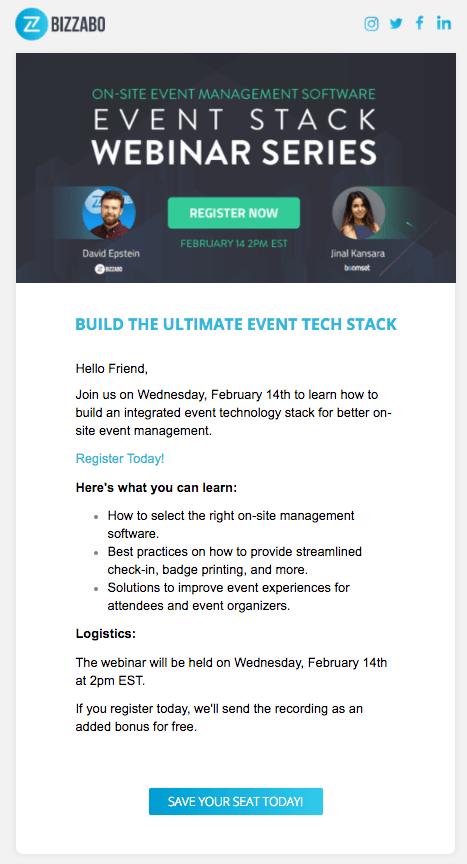 Event Invitation Email to Bizzabo's Event Stack Webinar