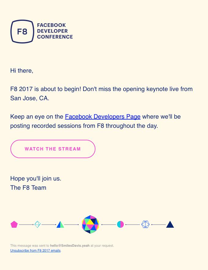 Event Invitation Email for Facebook Developer Conference