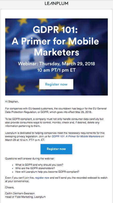 Event invitation email for Leanplum's GDPR webinar