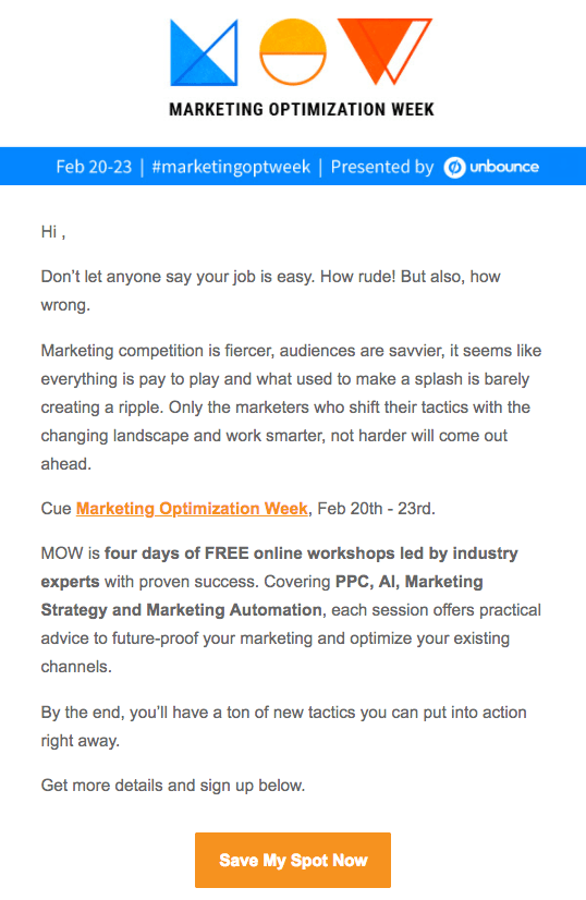 Event invitation email for Marketing Optimization Week