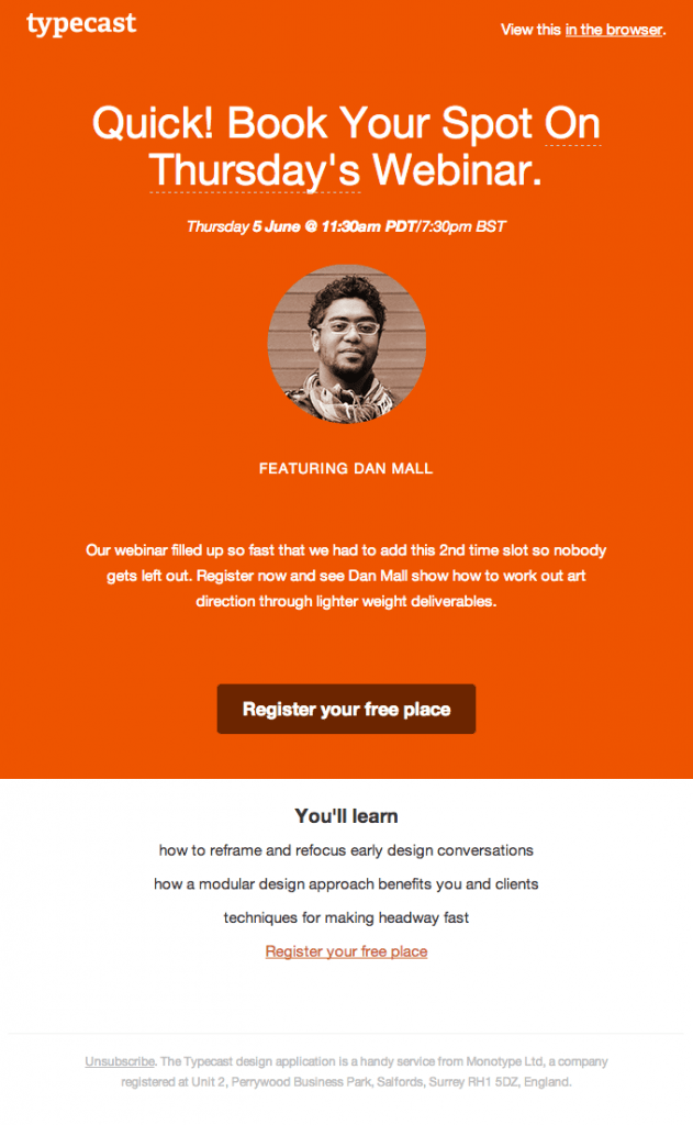 On brand event invitation email for typecast webinar