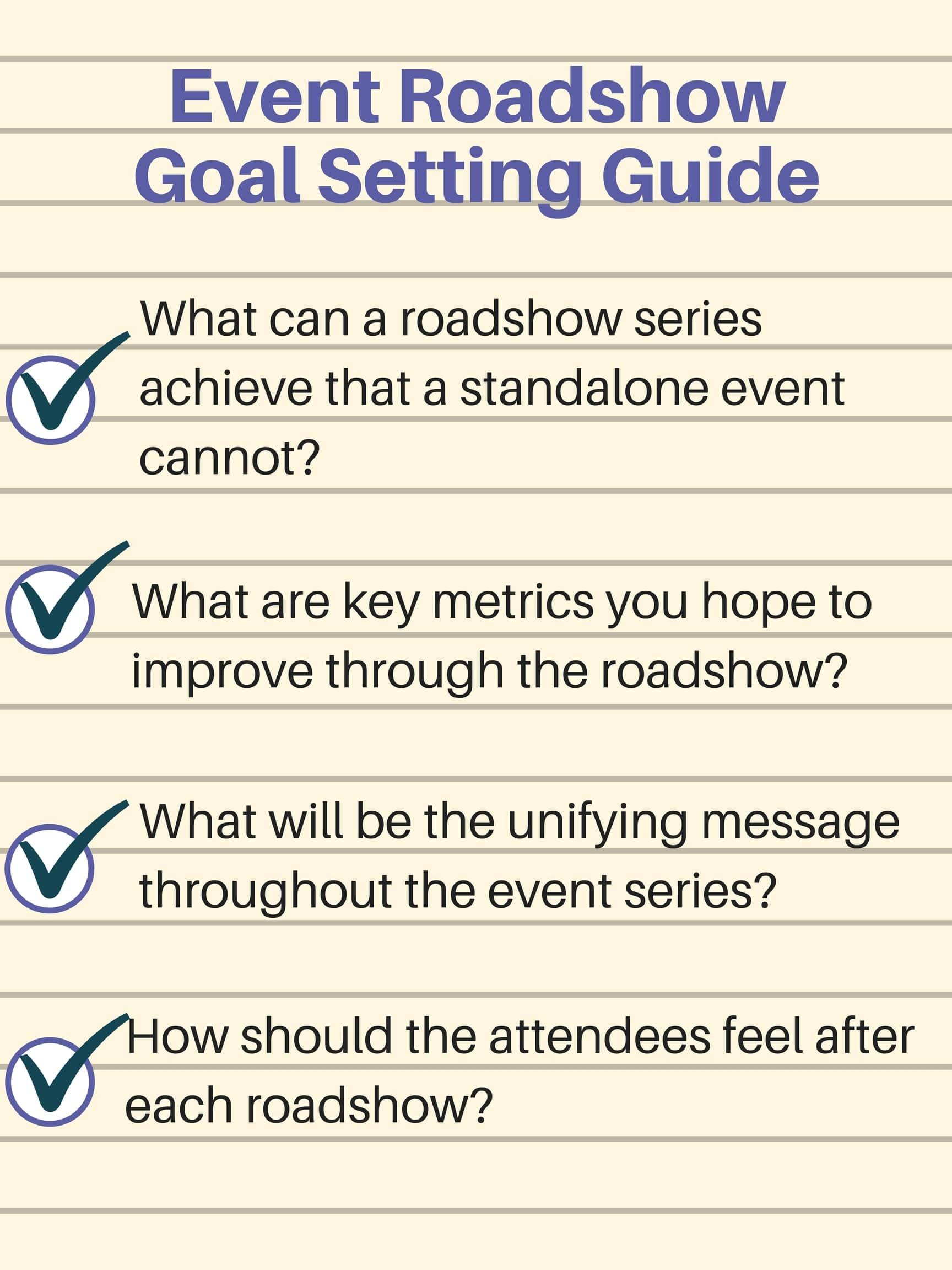 Event Roadshow goal setting guide - Event Roadshow Guide