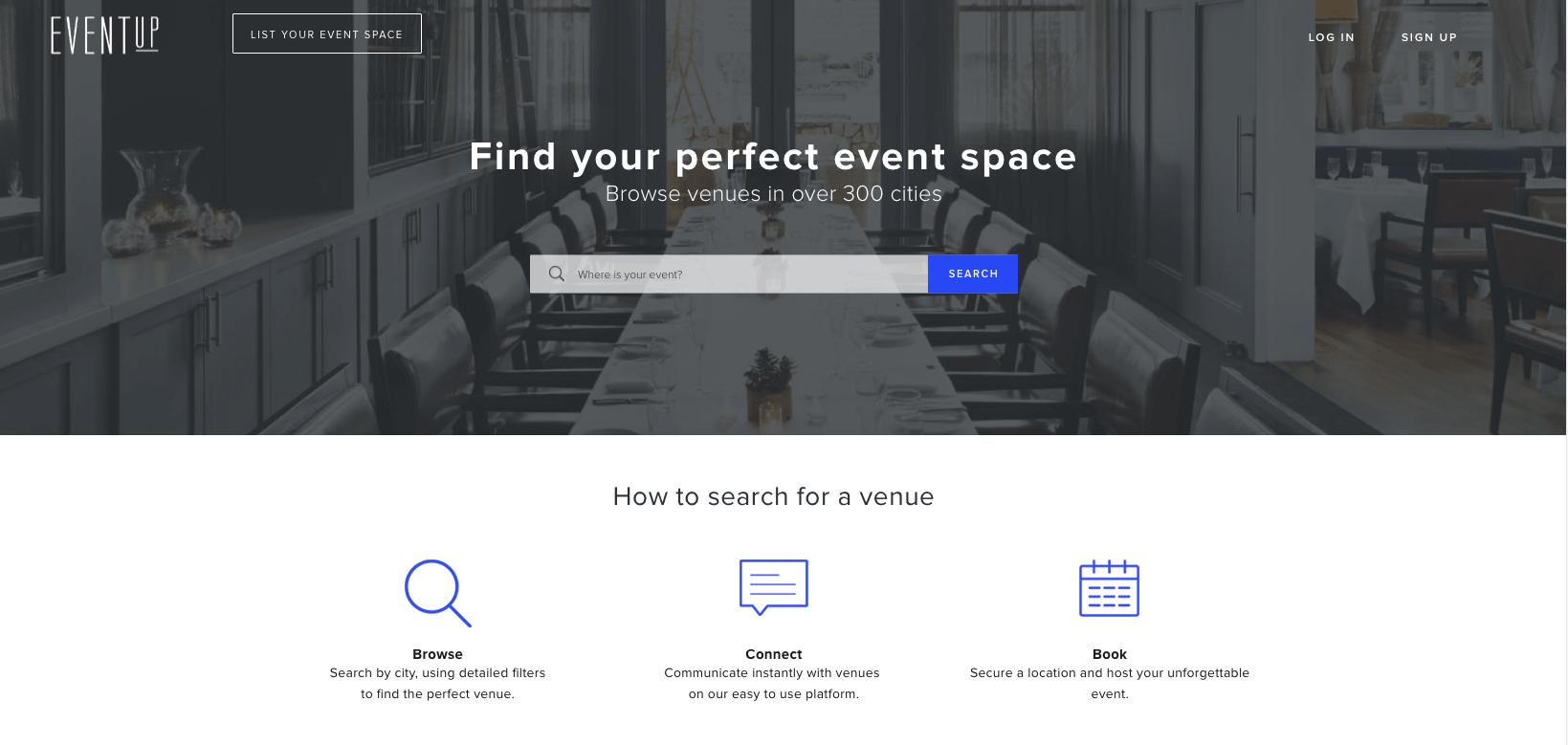 EVENTup Venue Spaces Search
