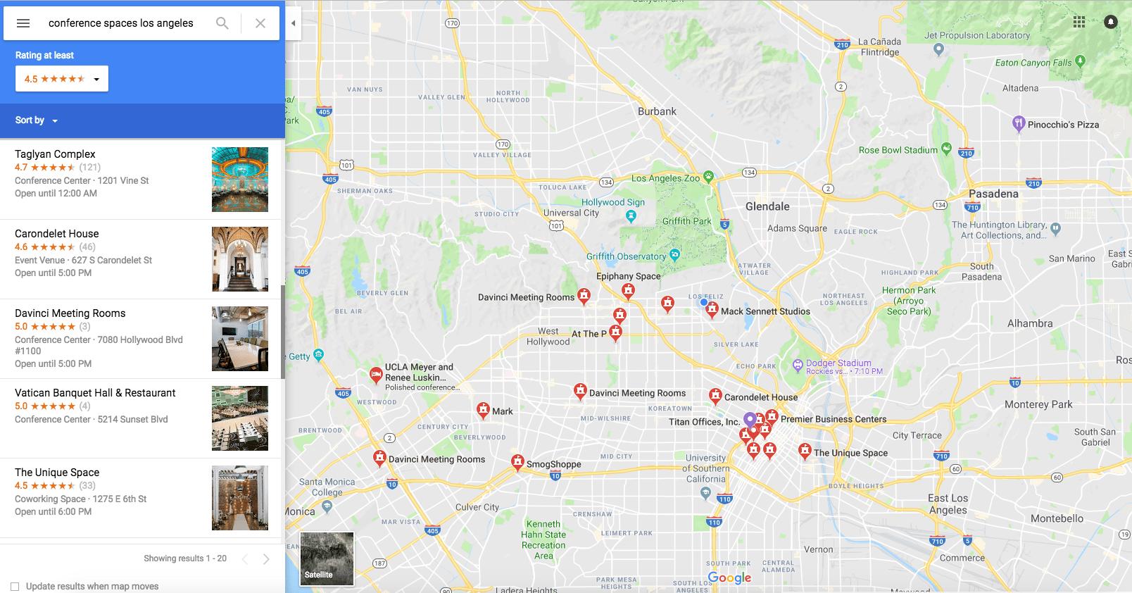 Google Maps Event Venue Search