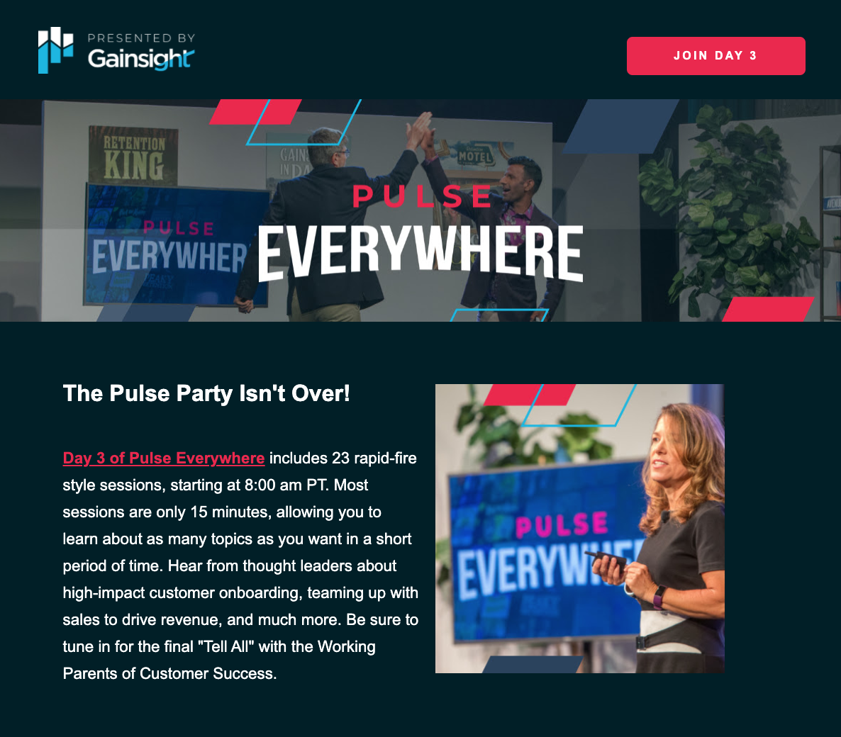 Gainsight Bizzabo event email example