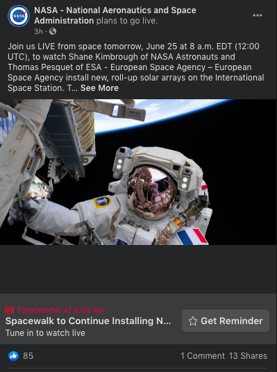 NASA example - Facebook Event Promotion