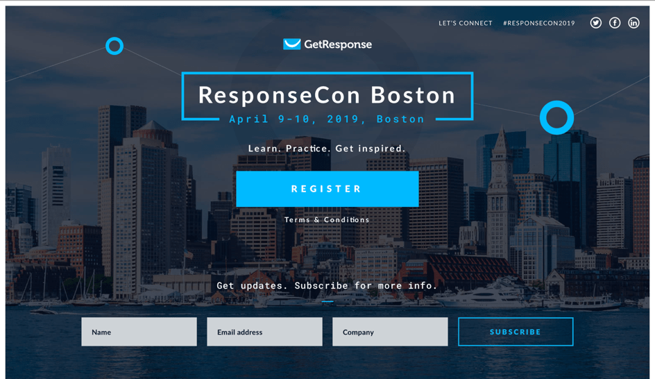 The landing page for ResponseCon Boston.
