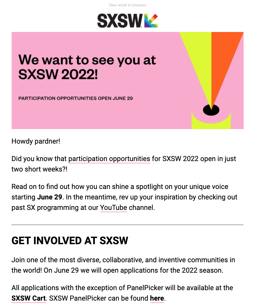 SXSW Bizzabo event email example
