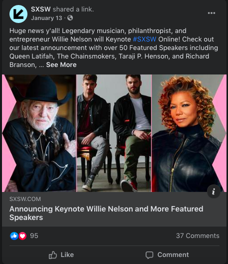 SXSW Example - Facebook Event Promotion