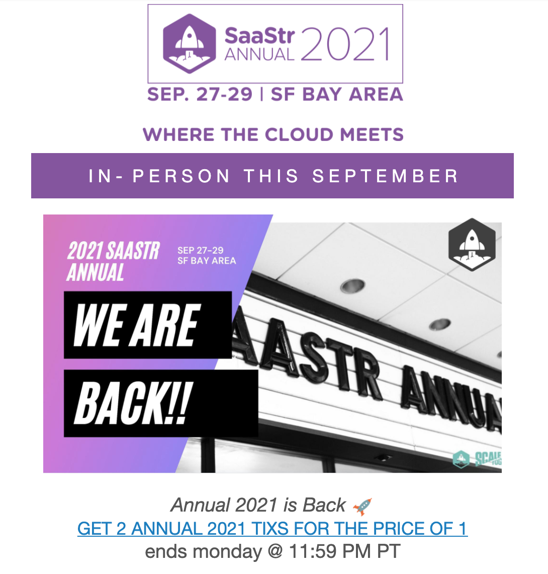 SaaStr Bizzabo event email example