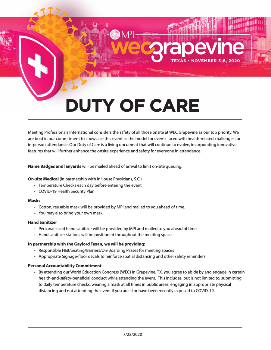 duty of care - the commonsense guide to coronavirus and events