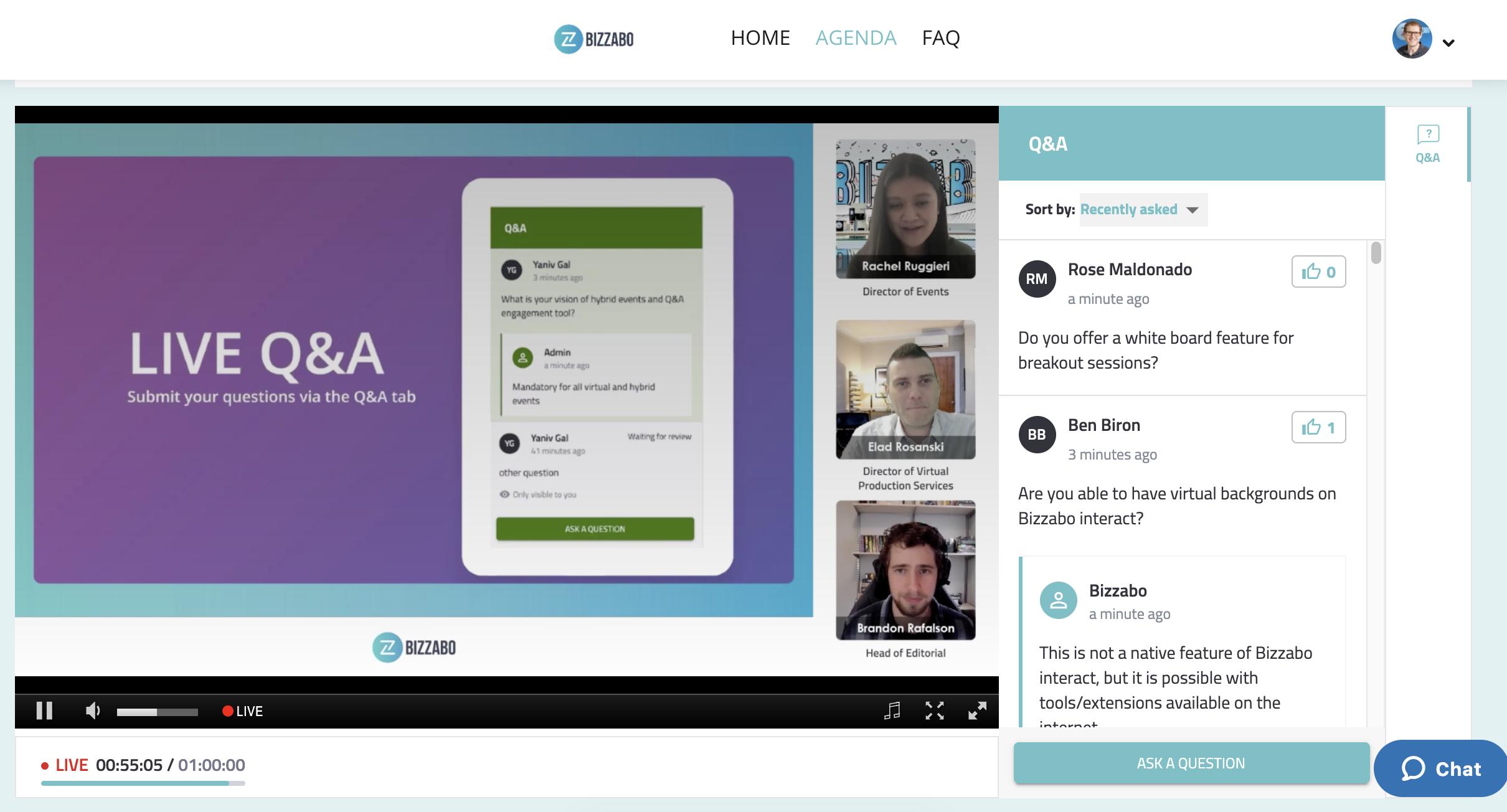 virtual event production glossary - Bizzabo Stream Q&A