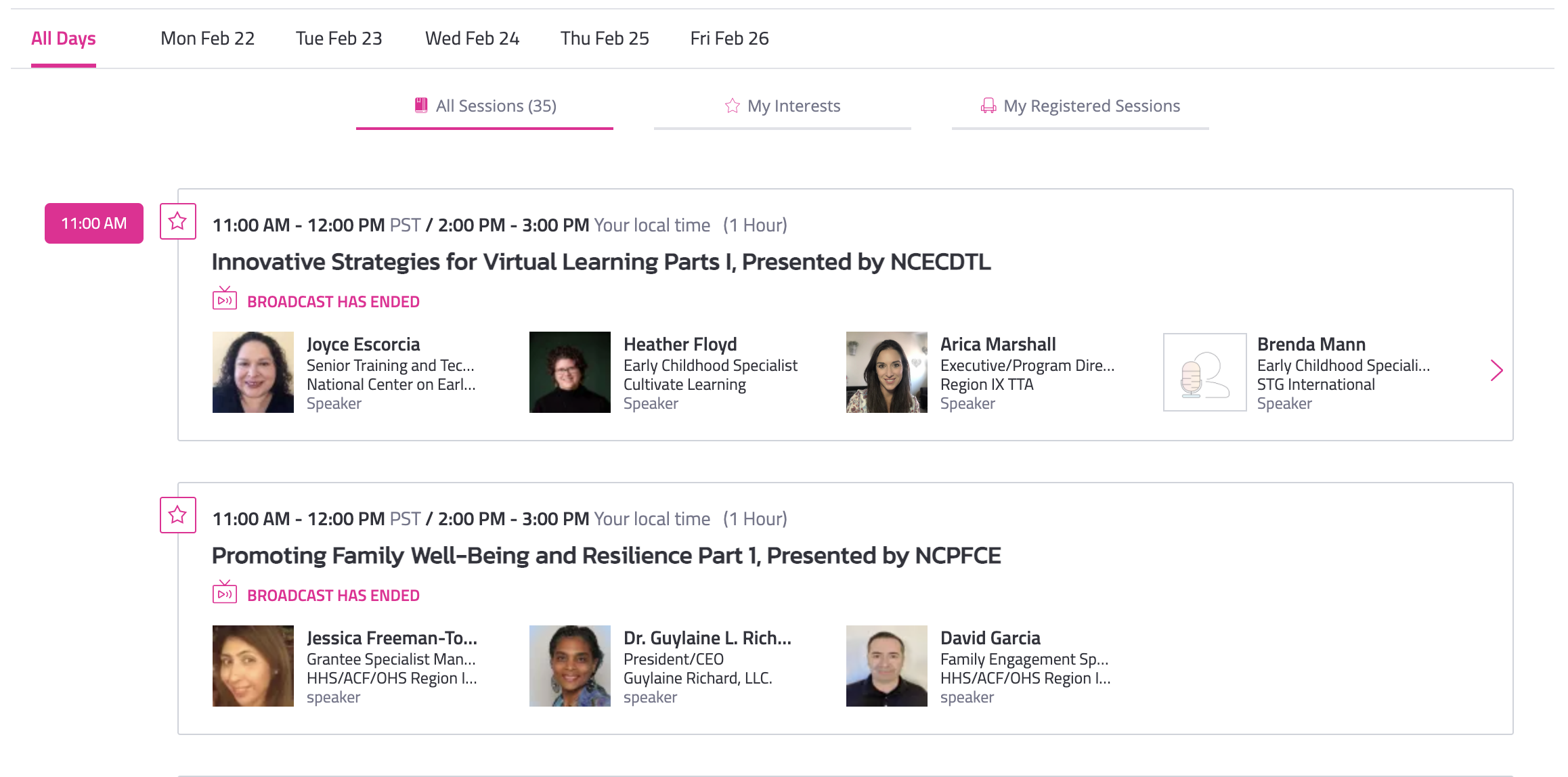 virtual event production glossary - concurrent sessions