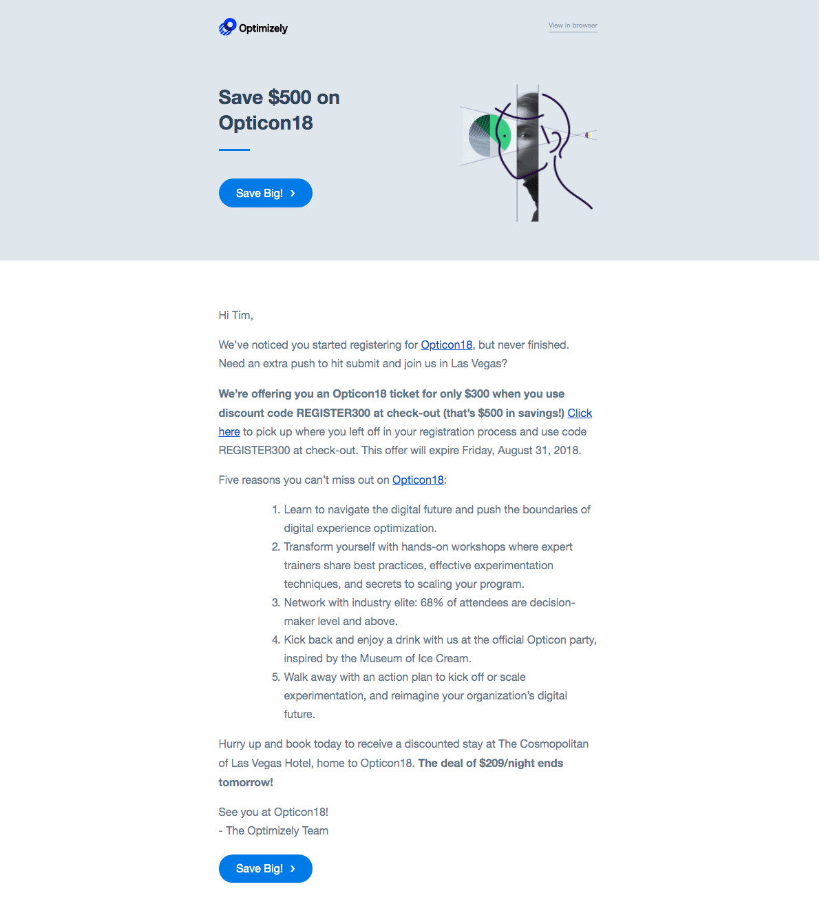 Optimizely - Event Promo Codes