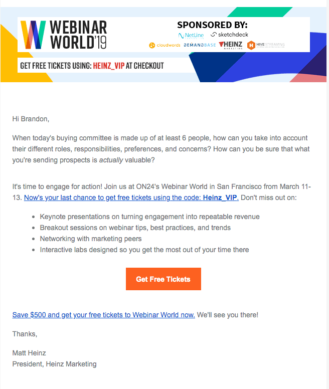 Webinar World - Event Promo Codes