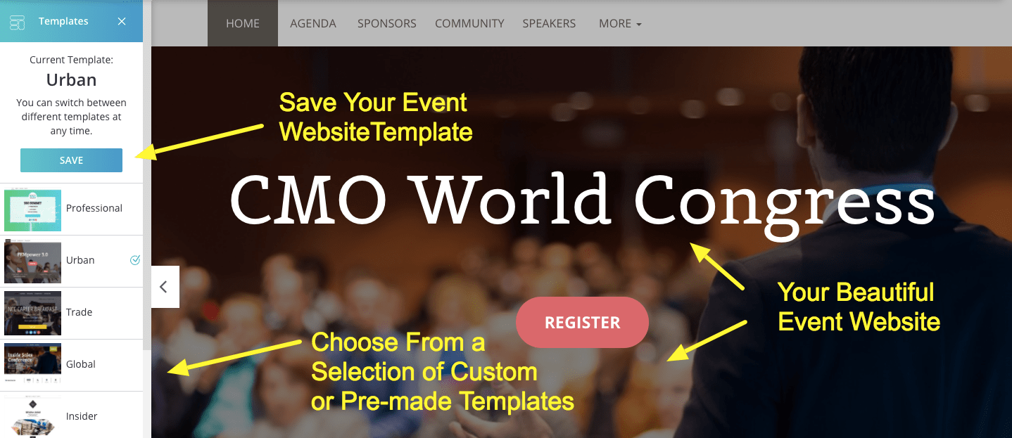 Event website templates will save you a lot of time.