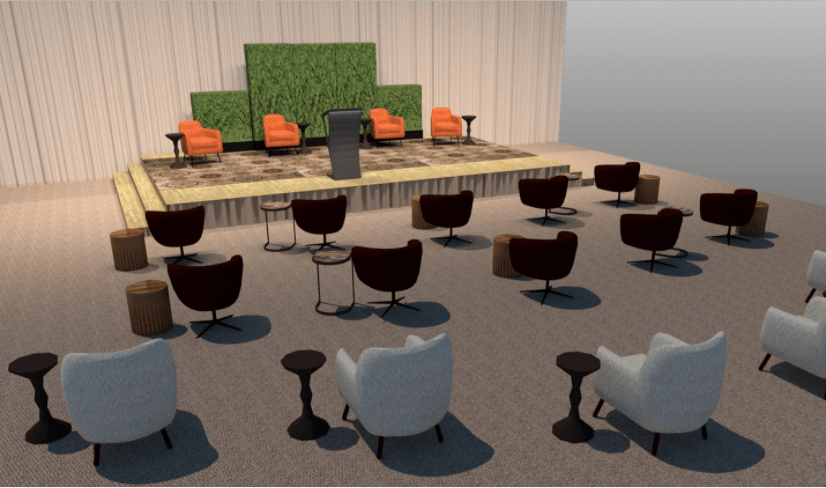 returning to in-person events safely - cort seating set social distance
